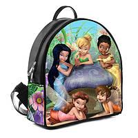 Черный рюкзак для девочки с принтом Феи Диснея и Динь Динь