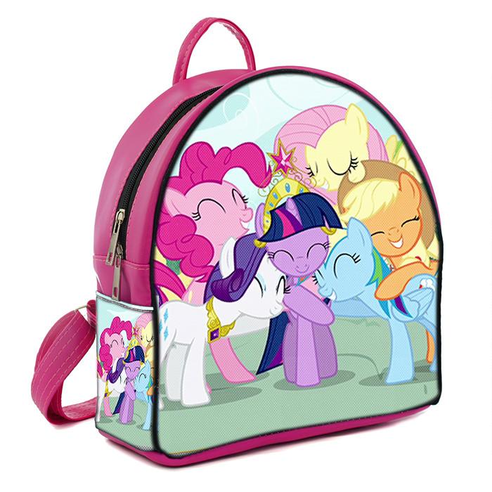 Розовый рюкзак для девочки с принтом Май литл пони