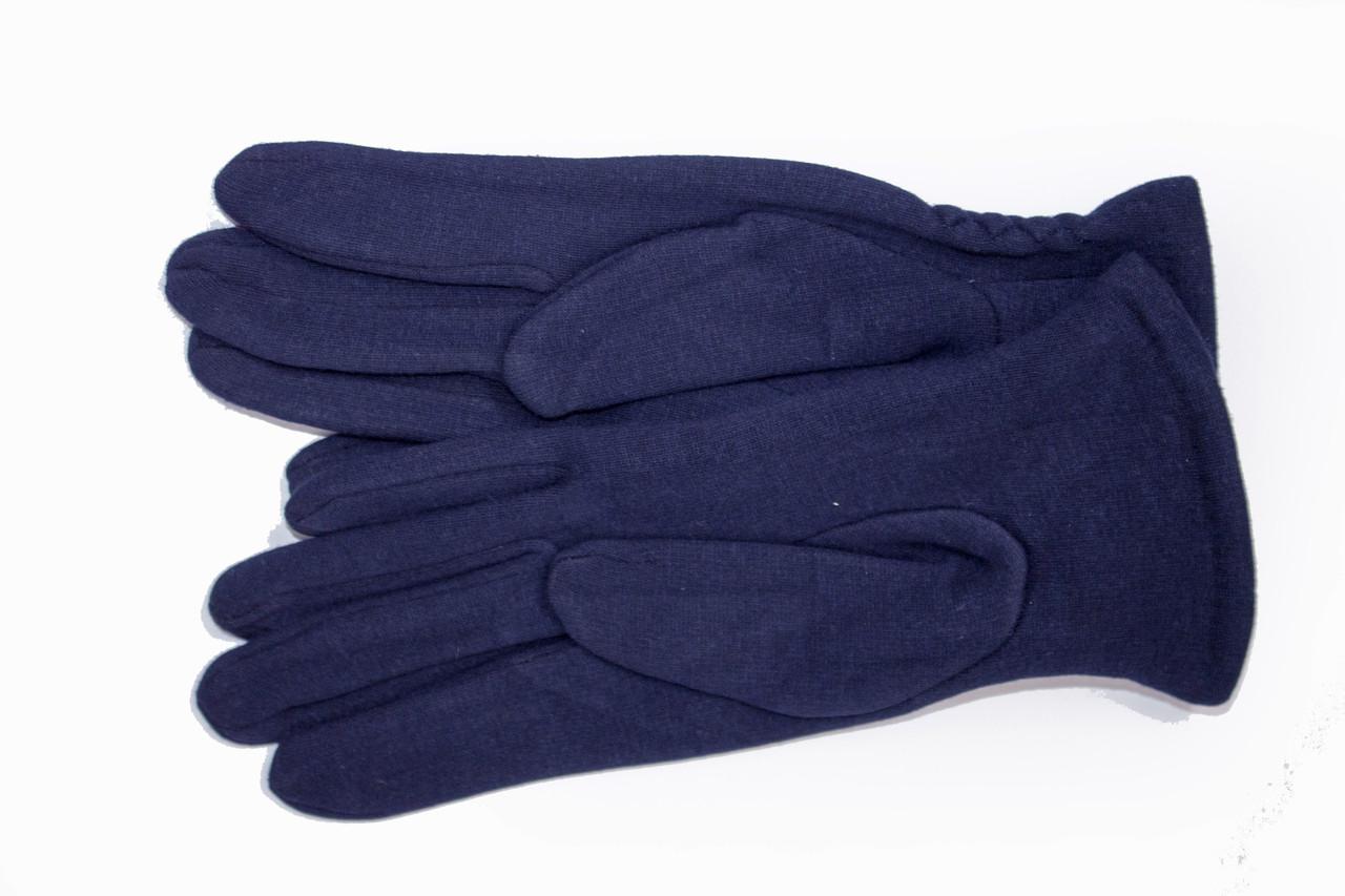 Женские стрейчевые перчатки Цветные Темно-синие СРЕДНИЕ