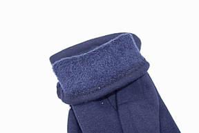 Женские стрейчевые перчатки Цветные Темно-синие СРЕДНИЕ, фото 2