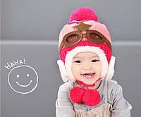 Шапочка зимняя детская на завязках для девочки