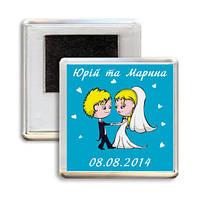 """Свадебный акриловый сувенирный магнит на холодильник """"Пара"""""""