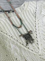Оригинальная подвеска в бохо-стиле из бисера и металла