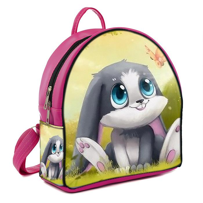 Розовый рюкзак для девочки с принтом Заяц