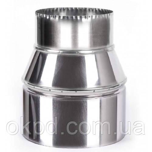 Переходник диаметром 200 для дымохода из нержавеющей стали марки  AISI 304 толщиной 1 мм
