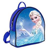 Синий рюкзак для девочки с принтом Эльза