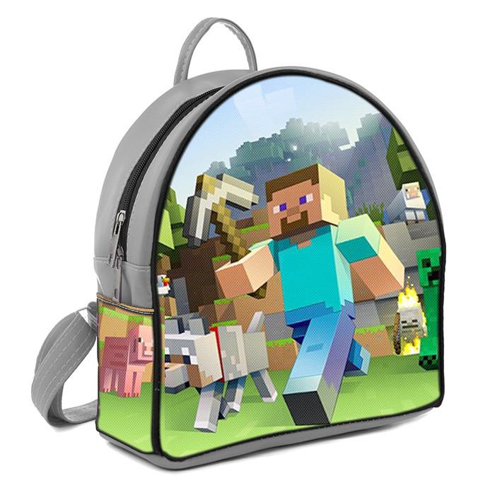 Серый рюкзак для мальчика с принтом Майнкрафт Minecraft