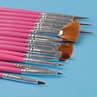 Набор кистей для маникюра, дизайна ногтей 15 шт