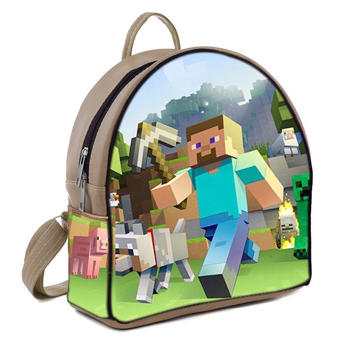 Бежевый рюкзак для мальчика с принтом Майнкрафт Minecraft