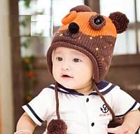 Шапочка детская теплая на завязках для мальчика