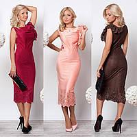 Облегающее платье миди длины из замшевой ткани с перфорацией