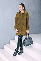Женское осеннее пальто ozze изкашемира Д 252 цвет хаки
