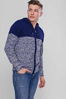 Мужская теплая кофта-меланж- синий/ меланж
