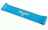 Фитнес-резинка для ног и ягодиц силиконовая Zelart Жесткость MLНагрузка 10кг Синий (СПО FI-6410-BL)