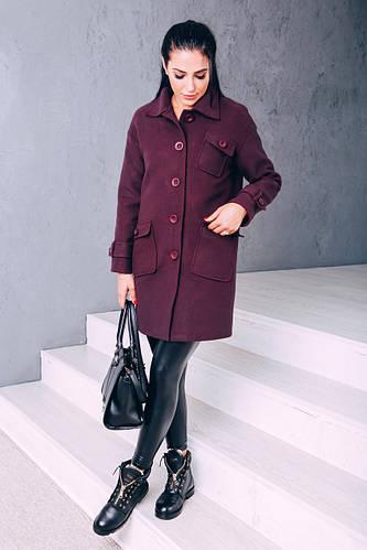 Женское осеннее пальто из кашемира Д 252 марсала