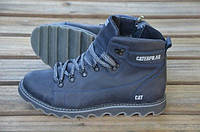 Мужские кожаные ботинки Caterpillar 12236 темно-синие