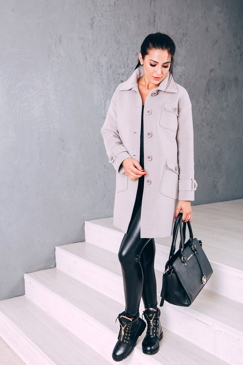Модное женское кашемировое пальто Д 252 светло-бежевый