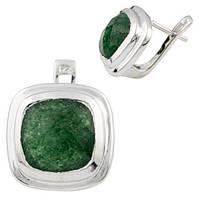 Серебряные серьги с натуральным зеленым авантюрином