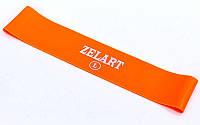 Фитнес-резинка для ног и ягодиц силиконовая Zelart Жесткость L Нагрузка 15кг Оранжевый (СПО FI-6410-OR)