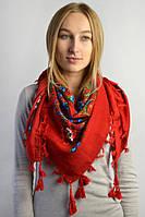Женский народный платок красного цвета