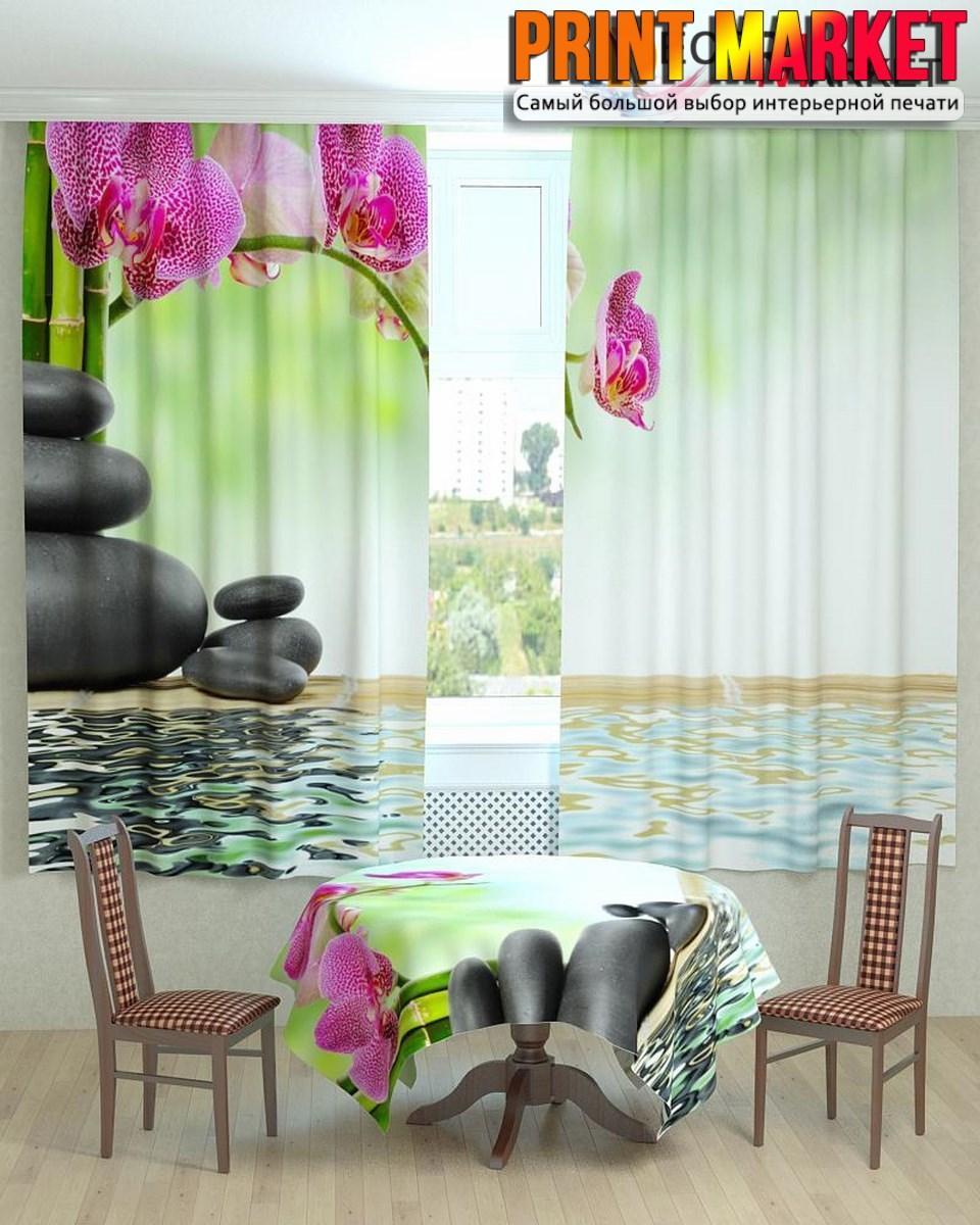Фотошторы для кухни орхидея над водой 3d