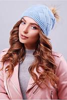Стильная женская голубая вязаная шапка 307