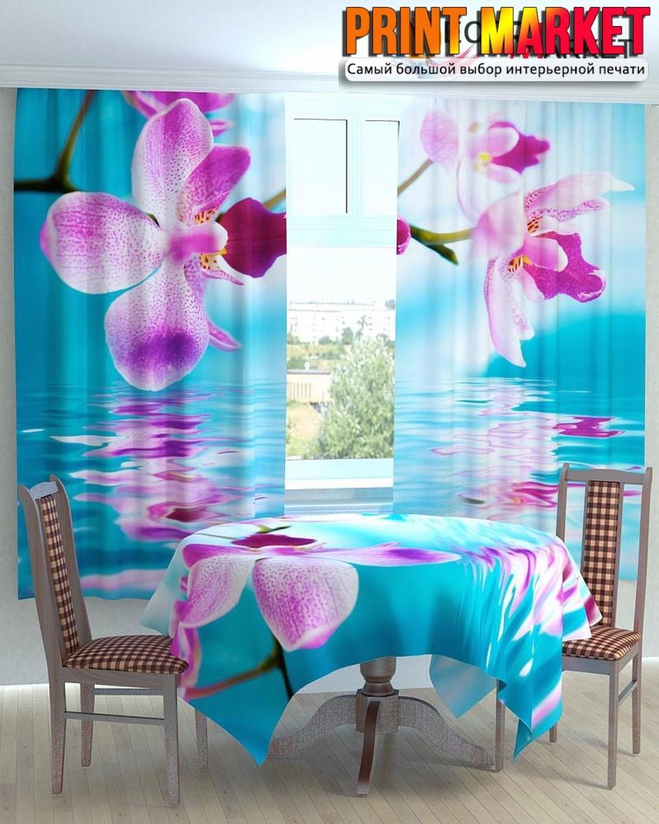 Фотошторы для кухни цветы над водой 3d