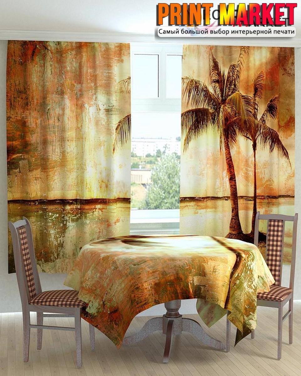 Фотошторы для кухни пальмы на берегу