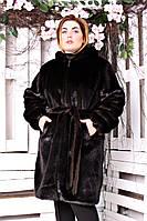 Шуба искусственная большого размера Норка длинная без утеплителя батал темно-коричневый