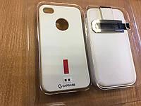 Защитный комплект для iphone 4/4s.Кожаный чехол+силиконовый бампер