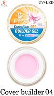 F.O.X camouflage builder gel 004, камуфлирующий гель, розово-бежевый 15 мл