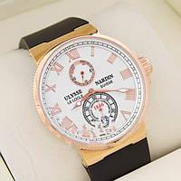 Фирменные мужские часы ULYSSE NARDIN MAXI MARINE GOLD WHITE. Отличное качество. Доступная цена. Код: КГ2118
