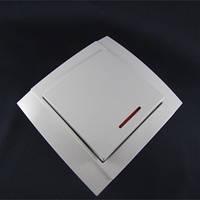 """Выключатель 1-й  с подсветкой внутренний """"Аватар"""" белый ST 43-1"""