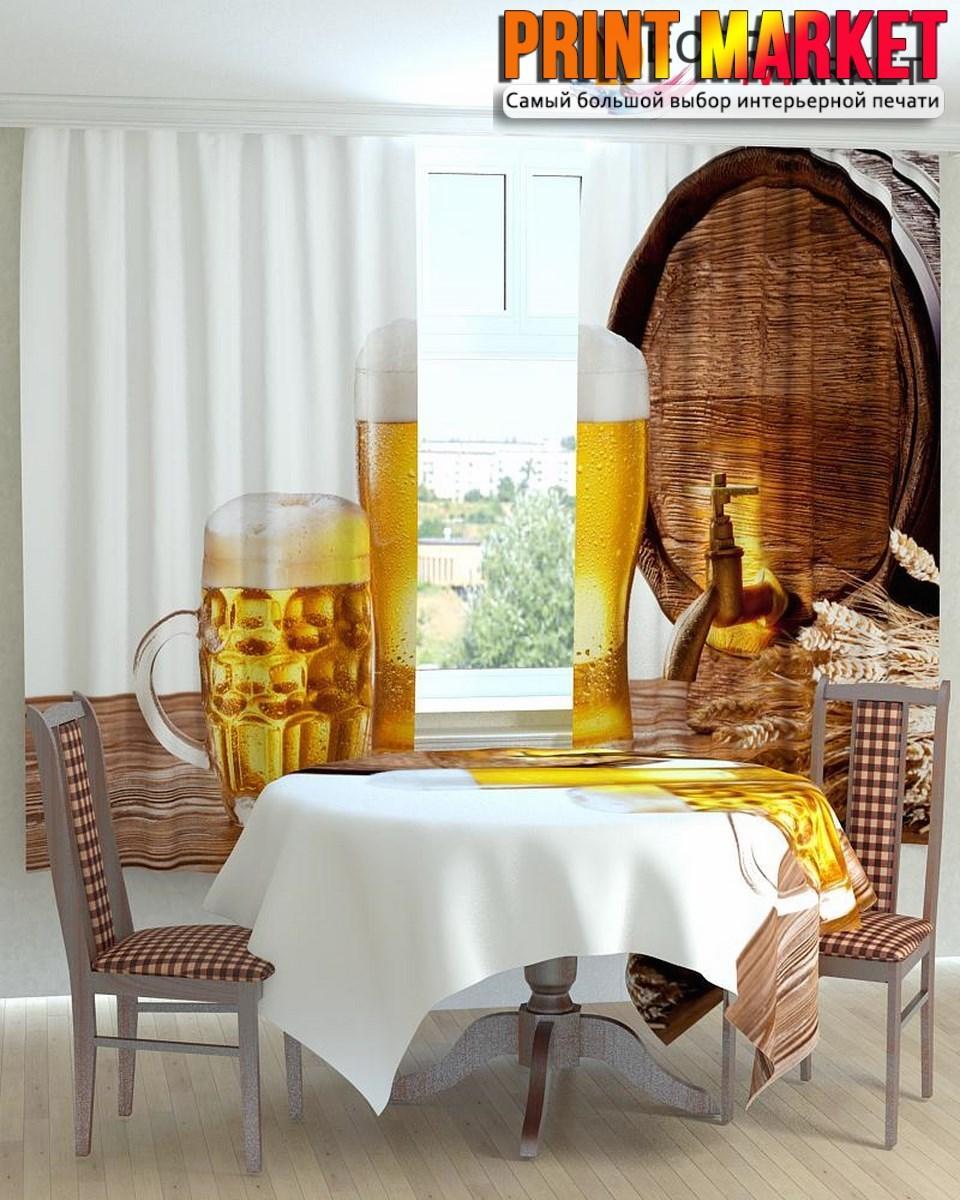 Фотошторы для кухни бокалы с пивом 3д