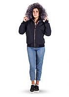 Теплая женская куртка с воротником, от 42 до 50, т.синий