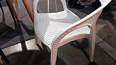Стул пластиковый садовый из искусственного ротанга OW-135 MELODY Evrodim, белый, фото 3