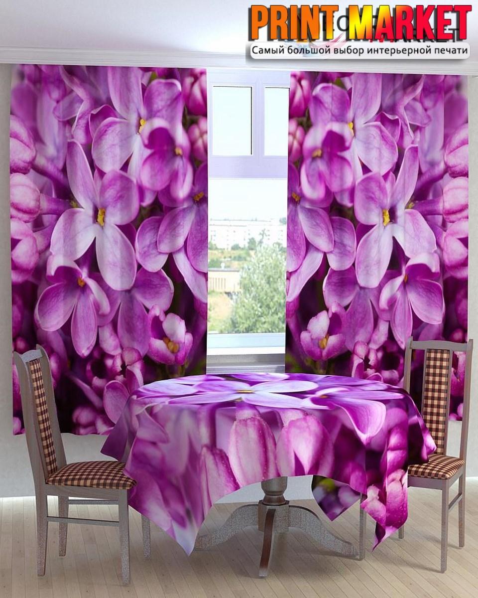 Фотошторы для кухни фиолетовые цветки