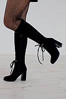 Сапоги женские на каблуке в 2х цветах 1725 замш/байка, фото 1