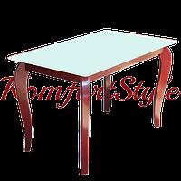 Стол стеклянный кухонный на деревянных ножках Император Редвуд Вайт