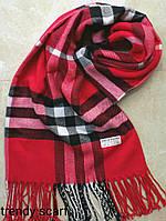 Женский шарф палантин Burberry Бренд. Красный, черный, белый.Фирменый принт. Барбари.Пашмина180\70