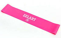 Фитнес-резинка для ног и ягодиц силиконовая Zelart Жесткость MНагрузка 8кг Розовый (СПО FI-6410-P)