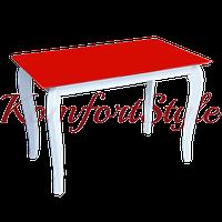 Стол стеклянный кухонный на деревянных ножках Император Белиссимо Рэд