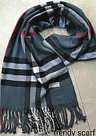 Женский шарф палантин Burberry Бренд. Темно серый, черный, белый.Фирменый принт. Барбари.Пашмина180\70