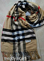Женский шарф палантин Burberry Бренд. Бежевый, черный, красный, белый.Фирменый принт. Барбари.Пашмина180\70
