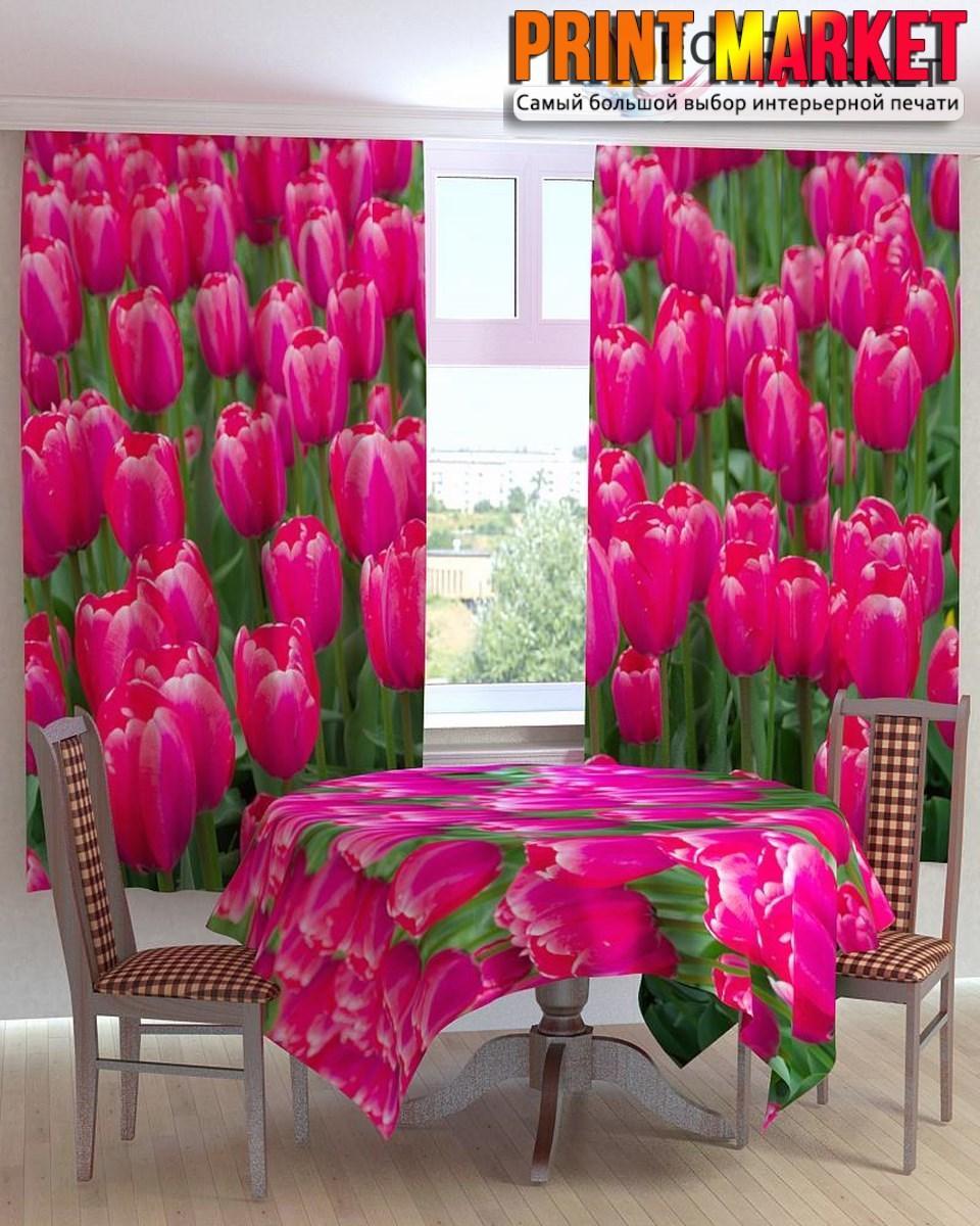 Фотошторы для кухни поле тюльпанов