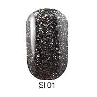 Гель лак Naomi Self Illuminated №01 черный с блестками и слюдой, 6 мл
