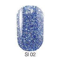 Гель лак Naomi Self Illuminated №02 эффектный синий с блестками и слюдой, 6 мл