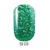 Гель лак Naomi Self Illuminated №03 зеленый с блестками и слюдой, 6 мл