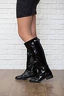 Эффектные лаковые сапоги Miss KG на низком каблуке  SH4179