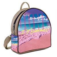 Бежевый городской рюкзак с принтом Лето